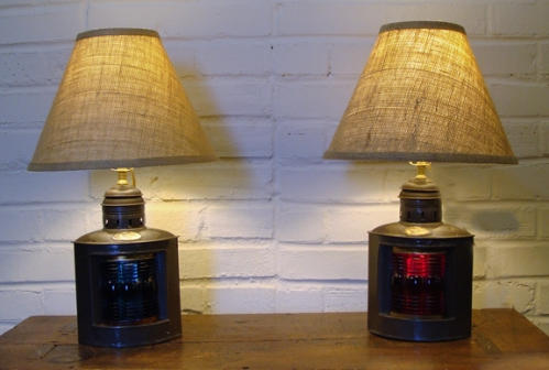 Early 20th Century Triplex Port and Starboard Lights Re-purposed into Table Lamps -- PAIR