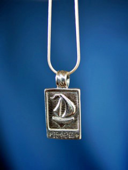 """Hope"" original sterling silver sailboat pendant from the Barbara Vincent Collection"