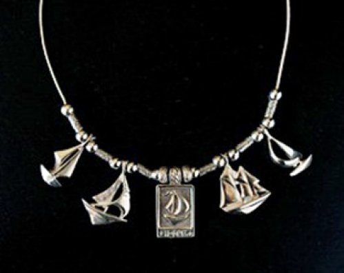 """The Fleet"" total collection of 5 sterling silver sailboat pendant necklace from the Barbara Vincent"