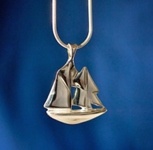 """Schooner"" original sterling silver sailboat pendant from the Barbara Vincent  Collection"