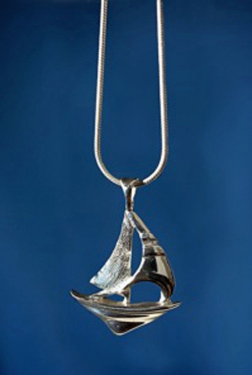 """Sloop"" original sterling silver sailboat pendant from the Barbara Vincent Collection"