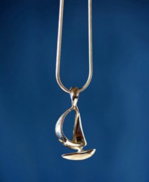 """Spinnaker"" original sterling silver sailboat pendant from the Barbara Vincent Collection"