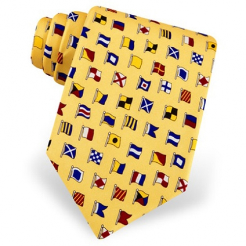 Maritime Signal Code Flag Yellow Tie -- Men's Nautical Neckwear (silk)