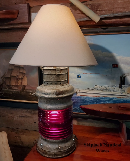 "Nautical Table Lamp- Distress Lantern ""A. Ward Hendrickson, New York"