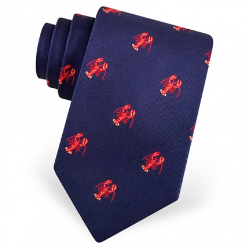 Red Lobster on Navy Tie -- Men's Nautical Neckwear (silk)