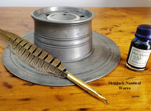 19th Century Ship's Captain Pewter Inkwell with Feather Pen