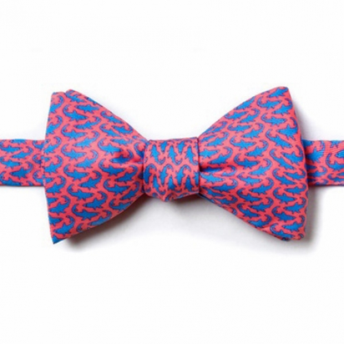Sharks Pink Self Tie Bow Tie -- Men's Nautical Neckwear (silk)