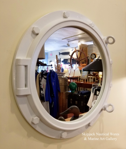 Large White-painted Nautical Porthole Style Mirror (new)