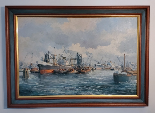 """Rotterdam Harbor"" Oil on Canvas by P.V. Shaik, Jr."
