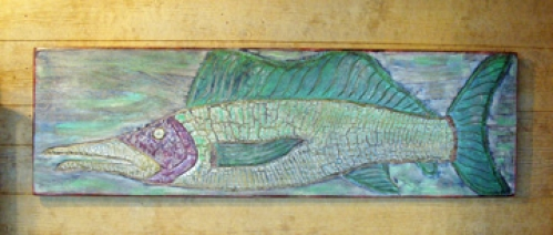 Sailfish carved and painted folk art by Joe Marinelli