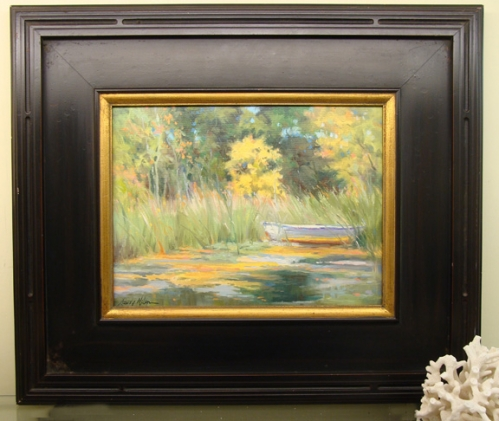 """Hidden Boat"" original oil on panel by Sandy Nelson"