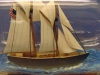 Schooner Virginia Model In-a-Bottle by Marine Artist Jim Goodwin, starboard view