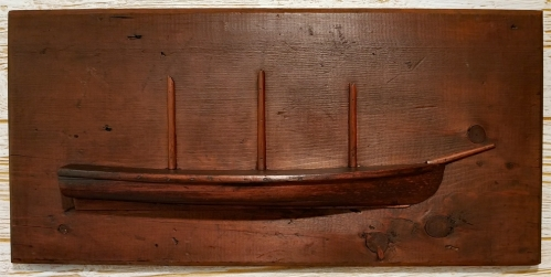 19th Century Three Masted Schooner Half Hull Model