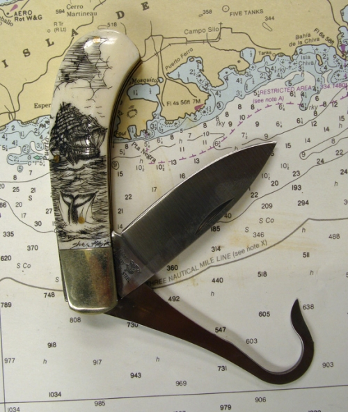 Bone Handled Hunting/ Fishing knife with Scrimshaw Whaling & Lighthouse Designs by Shar Knight