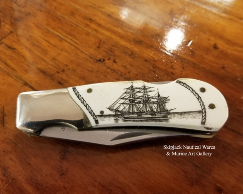 Scrimshaw Lock-back Bone Knife- Artwork by Peter Kinney