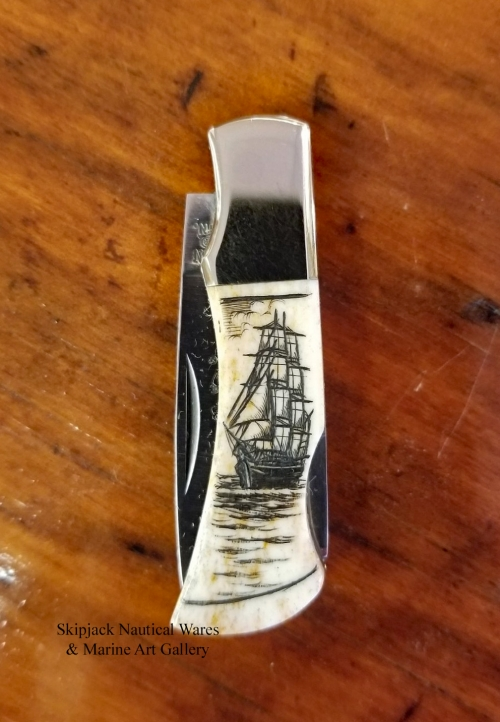 Vintage Mini Lock-back Scrimshaw Pocket Knife- Peter Kinney