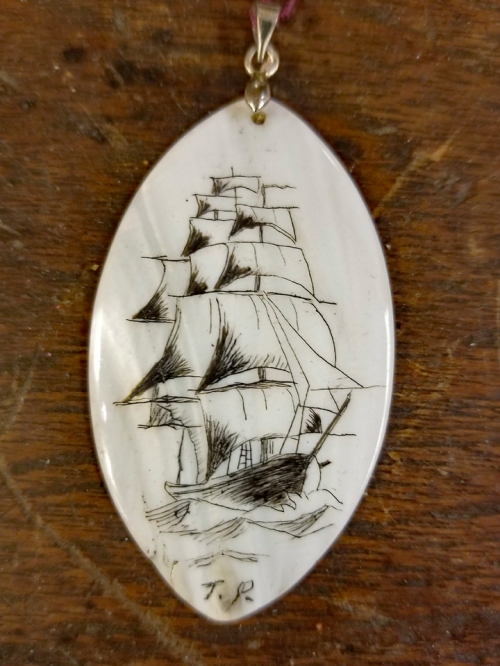 "Scrimshaw ""Mother of Pearl"" Shell Oval Pendant"