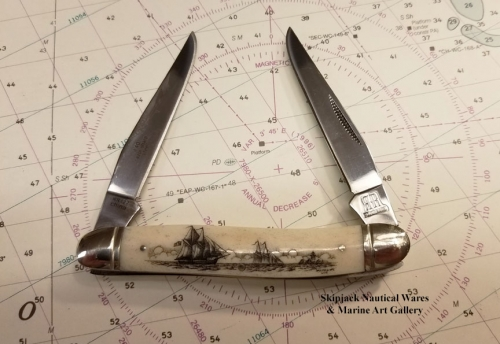 Scrimshawed Bone Handle Lock-back Pocket Knife