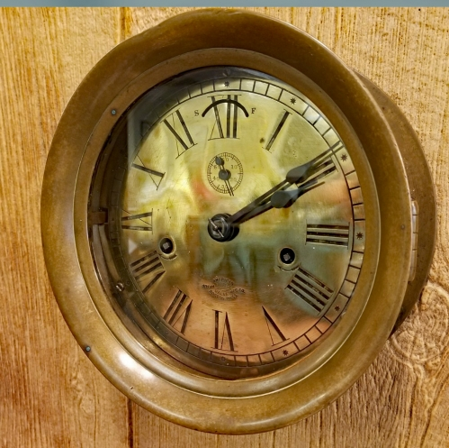 "Early Ship's Engine Room Clock ""American Steam Gauge & Valve Manu. Co. with Seth Thomas Works"