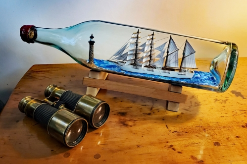 Ship-in-a-Bottle: Jack-ass Barque 'OLYMPIC' Off Boon Rock Lighthouse By Jim Goodwin