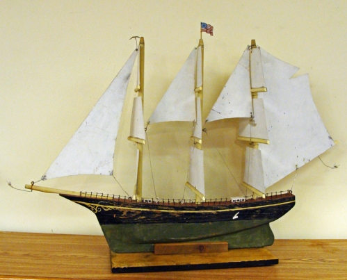 Painted Wooden Sailing Ship Weathervane
