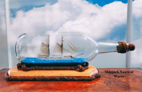 Vintage Two Masted Schooner Ship-in-a-bottle