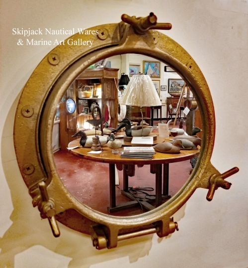 Brass and Iron Ship's Porthole Re purposed into a Nautical Mirror