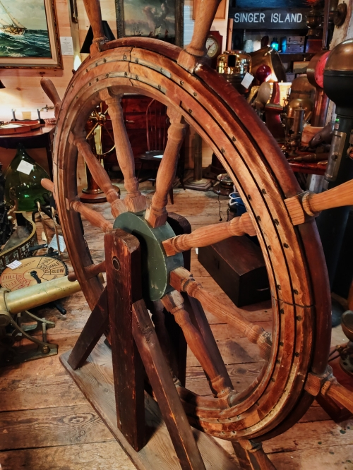 "19th Century Schooner Ship's Wheel by American Engineering, Philadelphia -- 60"" diam."