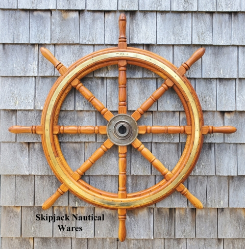 "Vintage Oak Ship, Yacht, Boat Wheel -- 42"" diam."
