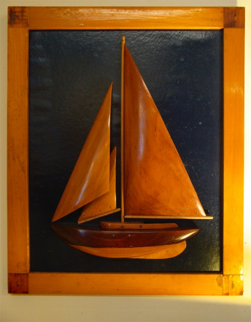 Mid-20th Century Carved Wood Sloop Half Hull With Wooden sails
