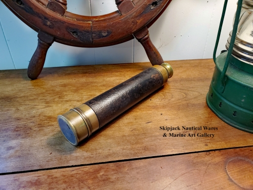 French Made Three Draw Brass & Leather Spyglass