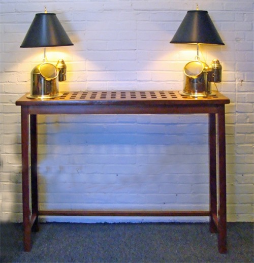 Custom Made Foyer Table Using a Re-purposed Teak  Ship's Grate- Nautical Furniture