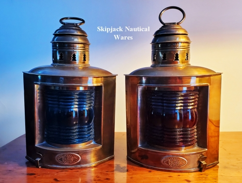 Triplex Brass Port & Starboard Lights, National Marine Lamp Co., New York