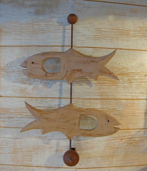"""Two Fish"" folk art carving by J & P Johnson -- height 28"""