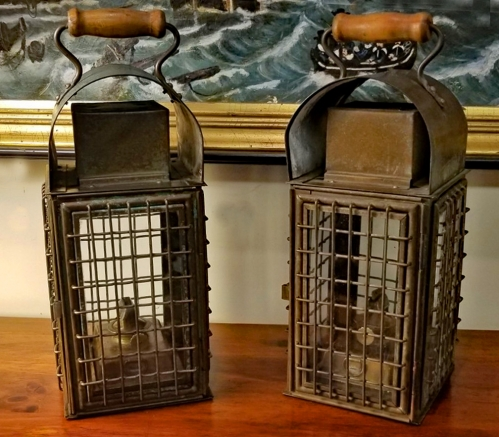 Matching Pair of  All-Brass Caged Lanterns
