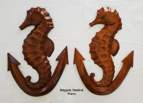 Pair of Teak Seahorse on Anchor Carvings