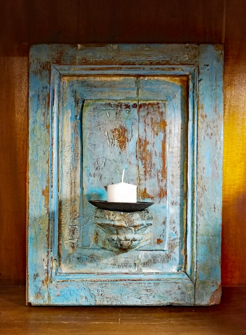 Painted Wood Candle Sconce Re-purposed Antique Door Panel