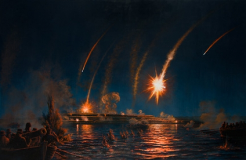 """Perilous Night: Naval Attack on Fort McHenry"" giclee on canvas by Peter Rindlisbacher"