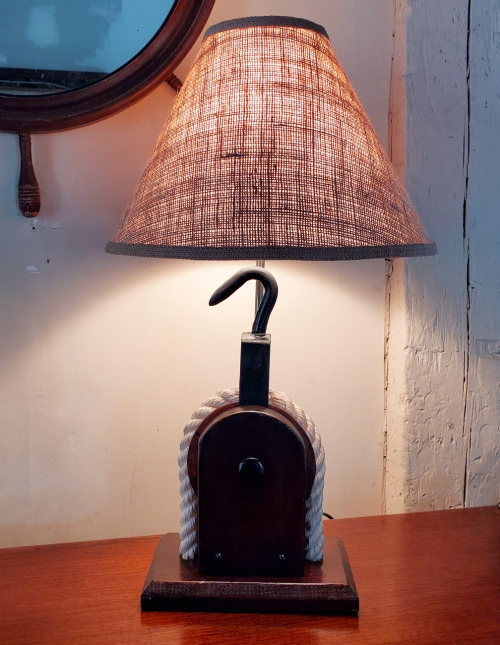 Vintage Boat Yard Block & Tackle Nautical Table Lamp