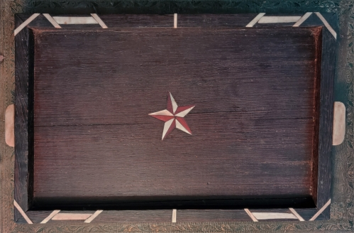 Antique Bone-Inlaid Rosewood Tray