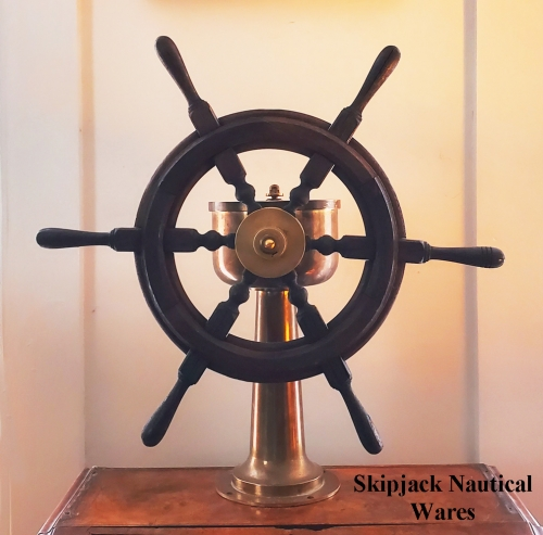 "Scuttle Butt Yacht Steering Station with Antique Teak Wheel -- 20.5"" diam."
